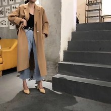 New 2018 Autumn And Winter Fashion Loose Casual Solid Color Long Woolen Coat Turn-Down Collar Korean Style