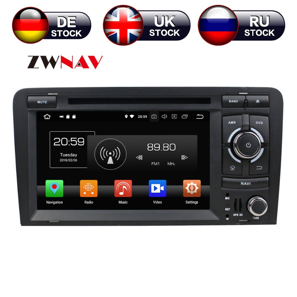 Android 8 4+32G Car CD DVD Player GPS navigation For Audi A3 2006 2013 head unit multimedia player tape recorder