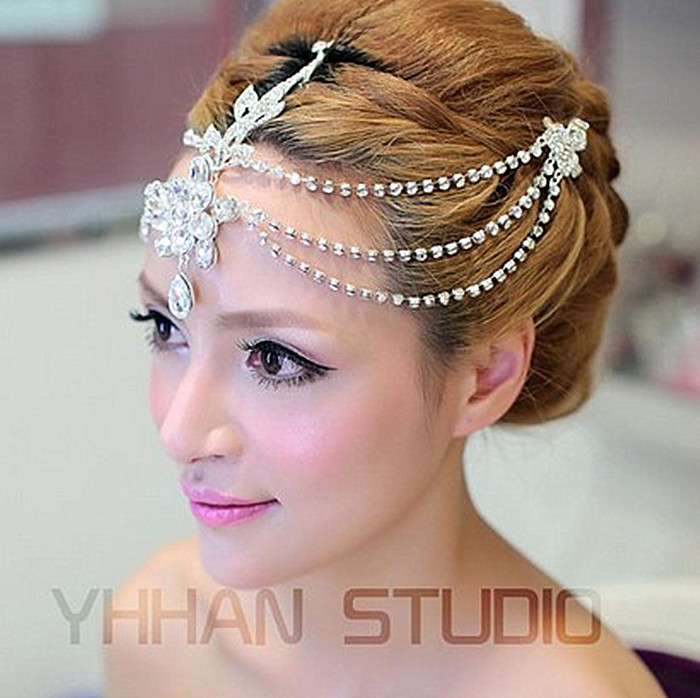 Tiara Bridal Hair-Accessories Crystal Wedding New Czech Front-Let
