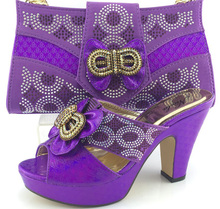 Purple Color Sandal Shoes And Bag Set African Wedding Shoe And Matching Bag Set High Quality Italian Woman Pumps Shoes ME3321