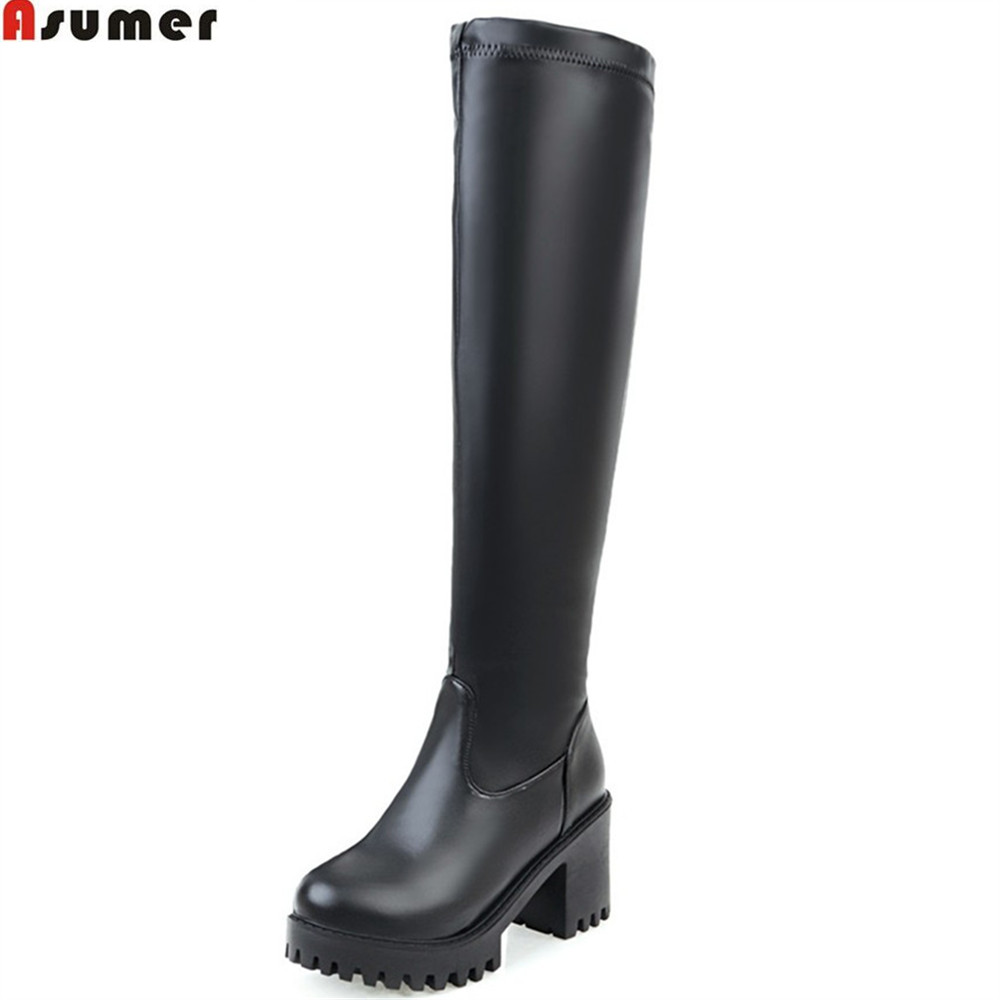 ASUMER 2018 hot sale winter new arrive women boots round toe square heel ladies boots black white platform knee high boots asumer 2018 hot sale new arrive women boots pointed toe black autumn winter ladies boots zipper buckle over the knee boots