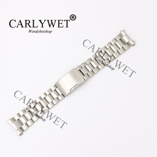 CARLYWET 16 18 20 22 24mm Silver Hollow Curved End Solid Links 316L Stainless Steel Watch Band Strap Bracelet Single Push Clasp цена в Москве и Питере