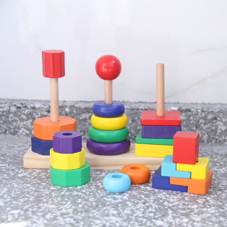 Baby Toys Three Column Shape Set Of Rainbow Tower Wooden Toys Geometric Assembling Building Blocks Child Educational Gift baby toys montessori wooden geometric sorting board blocks kids educational toys building blocks child gift
