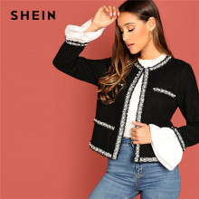SHEIN Black Office Lady Elegant Open Front Beaded Pearl Embellished Short Jacket Autumn Workwear Women Coat And Outerwear(China)