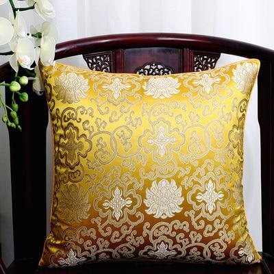 Винтажная квадратная большая подушка для дивана, стула, автомобиля, Высококачественная декоративная шелковая парчовая Подушка для спины 40x40 43x43 40x50 50x50 60x60 см - Цвет: gold