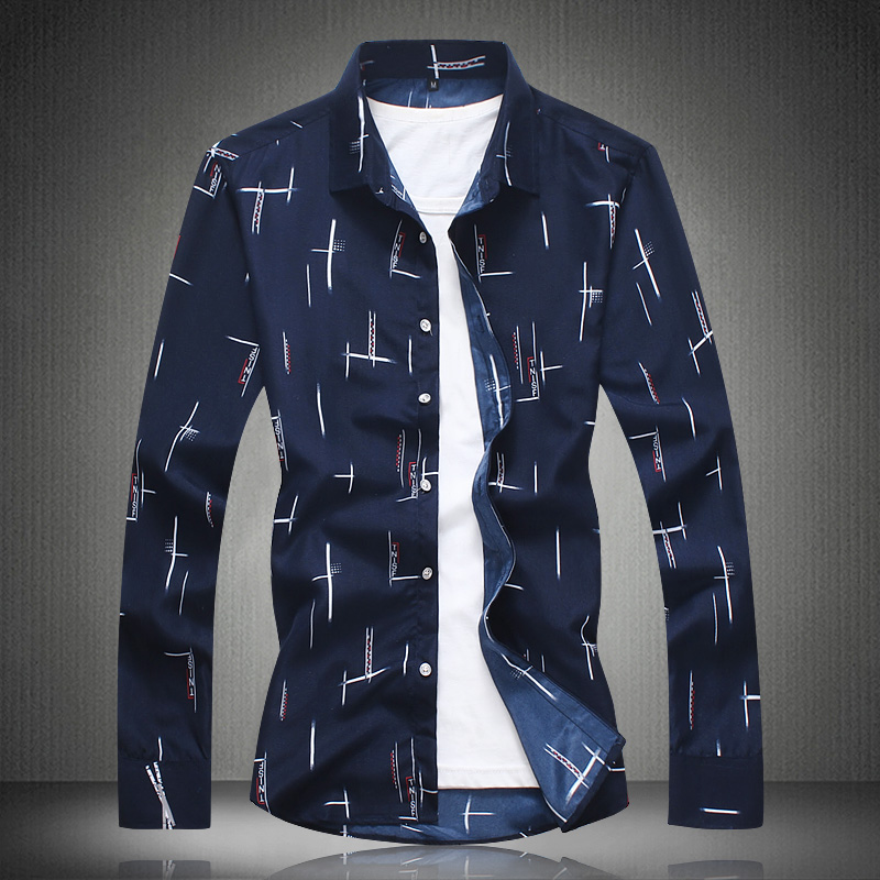 Men Shirts Long Sleeve Summer Print Shirt 2018 Mens Dress Shirts Casual Fashion White Blue Plus Size M- 4XL 5XL 6XL 7XL #3013 4