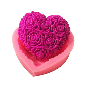 Lovely Heart Rose Flower Silicone Soap Mold DIY Fondant Cake Form Making Supplies 3d Handmade Decorating Mould Tools