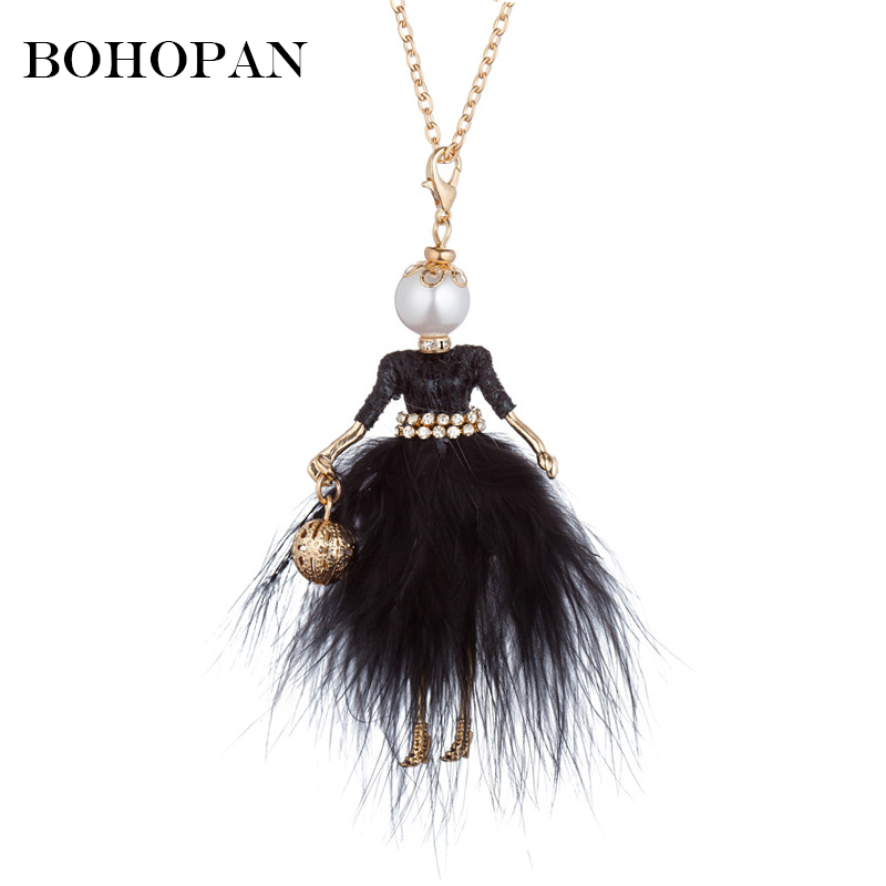 New Design Doll Necklace Fluffy Feather Dress Long Chain Pendant Rhinestone Necklaces Women Girl Ball Bag Statement Jewelry 2019