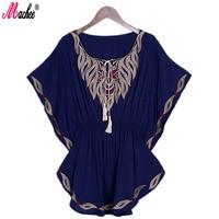 Machee 2017 Nieuwe Zomer Vintage Vrouwelijke Etnische Mexicaanse Bloemen Losse Shirt Tops Boho Katoen Batwing Mouw Vrouw Borduren Blouse