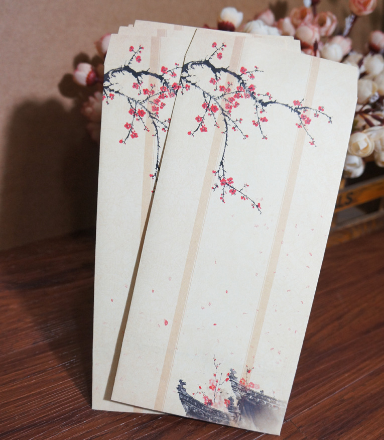 20pcs/set Chinese Ink Painting Traditional Ancient Classical No.5 Paper Envelopes Vintage Wintersweet Samuume Gift Paper Envelop