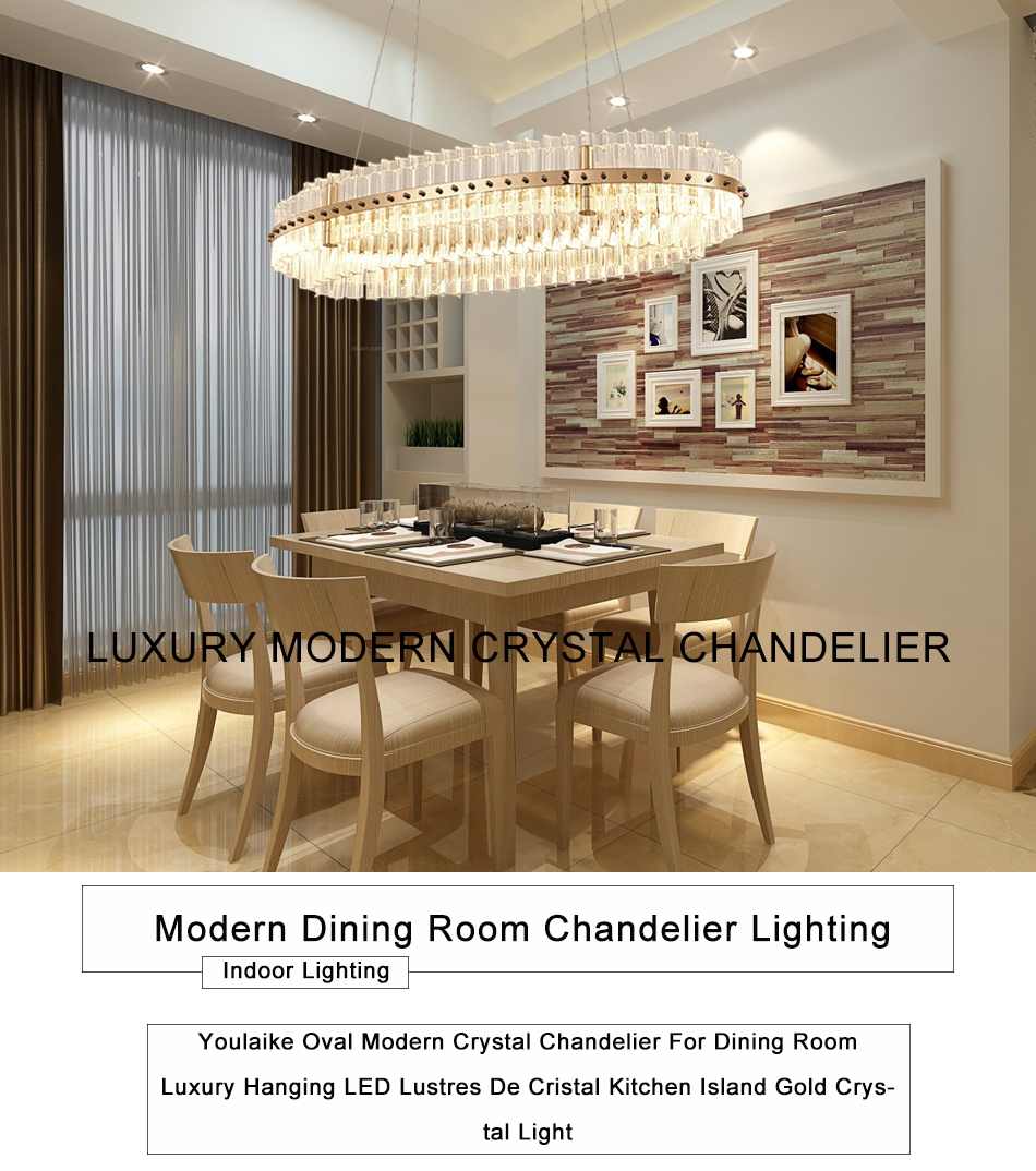 Oval Modern Crystal Chandelier For Dining Room Luxury Hanging Led