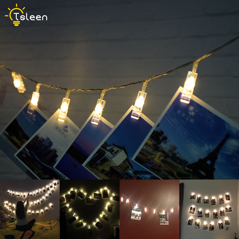 Us 0 2 19 Off Clip String Lights Bedroom Diy Led Fairy Light Battery Clothespin Shapes Decorative Lights In Lighting Strings From Lights Lighting