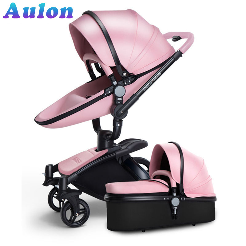 bir bebek arabası 2 in 1 - AULON Baby stroller 3 in 1 and 2 in 1 stroller artificial leather can sit and lie four seasons winter Russia Free Shipping