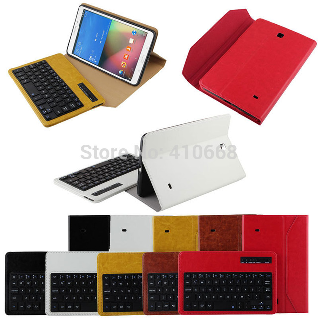 Detachable Wireless Bluetooth Keyboard Leather Protective Case Cover For Samsung Galaxy Tab 4 8 8 inch T330+Pen Free Shipping protective diving fabric bag for ipad 4 samsung galaxy tab 8 9 white olive khaki