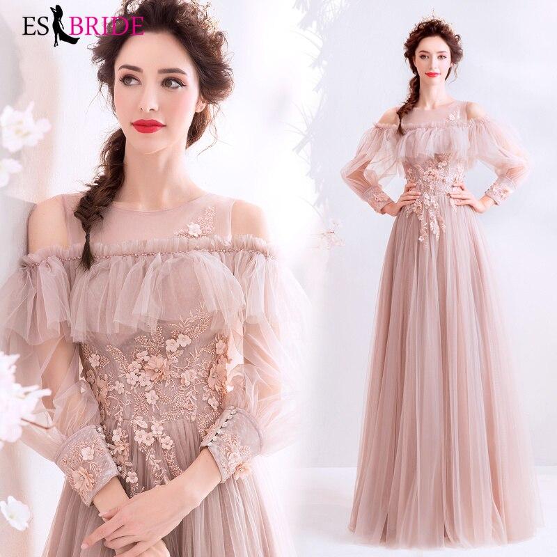 Photo réelle robes formelles dentelle soirée robe élégante robes de soirée longue Tulle manches longues robe de soirée arabe ES2028