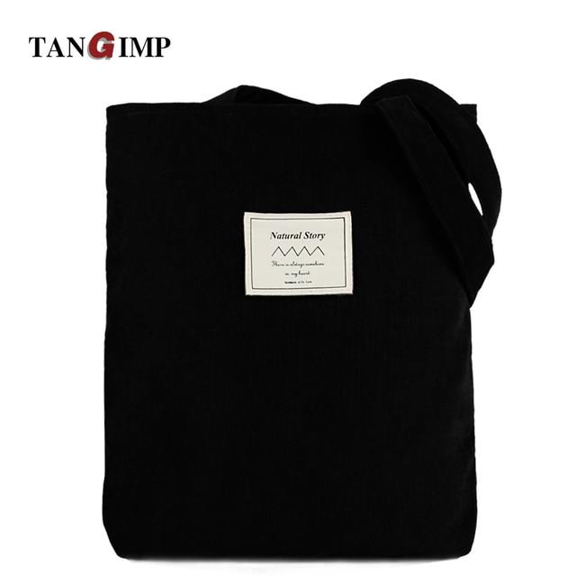 248385e83806 TANGIMP 2018 Corduroy Handbags Vintage Solid Black Big Carry-all Eco Ethnic  Women Shoulder Bags