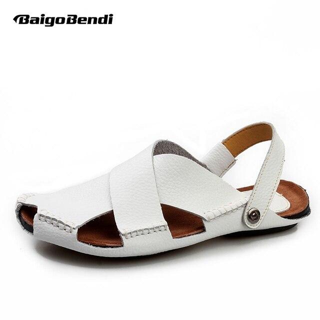 d724b8311ca US 6 -10 Men Real Leather White Casual Close Toe Slipper Back Strap Sandal  Summer shoes Beach Slides