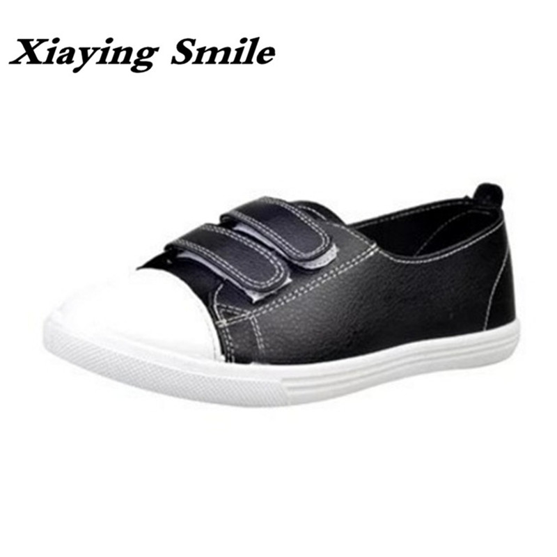 Xiaying Smile Spring Woman Sneakers Shoes Women Flats Casual Round Toe Thick Sole Black White Hook And Loop Rubber Women Shoes xiaying smile woman flats women brogue shoes loafers spring summer casual slip on round toe rubber new black white women shoes