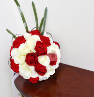 High Quality Wedding Bridal Bridesmaid Bouquet Handmade Red White Flower Artificial Roses Flowers Wedding Supplies Home