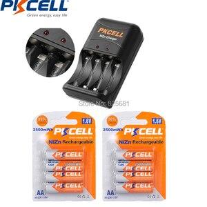 Image 1 - 8 Pcs 2 cartão Bateria nizn aa Bateria Recarregável NIZN 1.6 v 2250 750mwhrs a 2500 mWhs com 1 PC niZn Carregador de Bateria 8186 Plugue DA UE Ou EUA