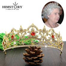 HIMSTORY European British Gold Plated  Royal Queen Hair Crown Tiara Rhinestone Wedding Party Accessories Headpiece