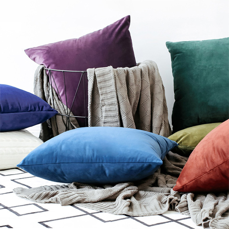 Enipate Comfortable Solid Colors Luxury Velvet Cushion Cover Decorative Throw Pillow Covers Club Company Christmas Gifts
