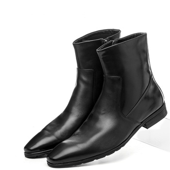 Quality Fashion Zipper Pointed Toe Black Mens Ankle Boots Genuine Leather Boots Male Winter Shoes Motorcycle Boots