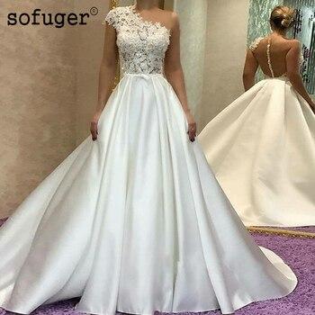 2019 Luxury Satin O-neck Applique Ball Bridal Gown Wedding Dresses Vestidos de Noivas Custom White Ivory
