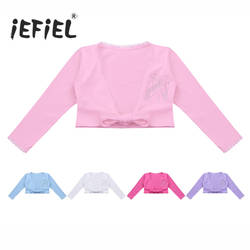 IEFiEL/балетная пачка трико для девочек классические детские с длинным рукавом спереди узел хлопчатобумажная накидка Топ Одежда для бальных
