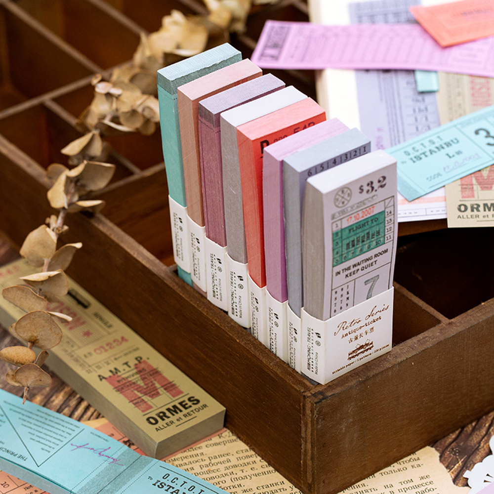 100pcs/set Classical Memo Notepad Sticky Notes Antique Ticket Series Scrapbooking Stickers Office School Stationery Message Card