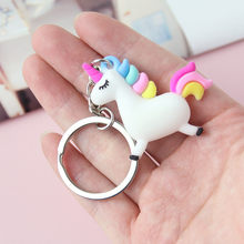 2019 Cute Angel Unicorn Keychains Horse Kid Doll Animal Key Chain Female Bag Pendant Key Ring Couple Car Keyring Jewelry(China)
