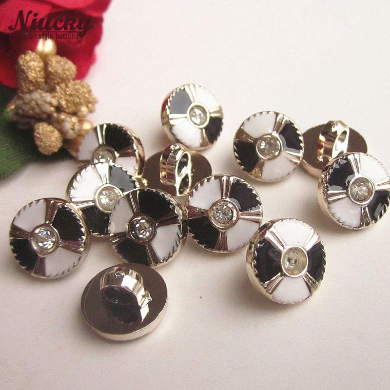 Niucky 11mm 7/16 Shank Black & white Epoxy rhinestone women swear buttons for sewing hairwear decorative accessories P0301d-034