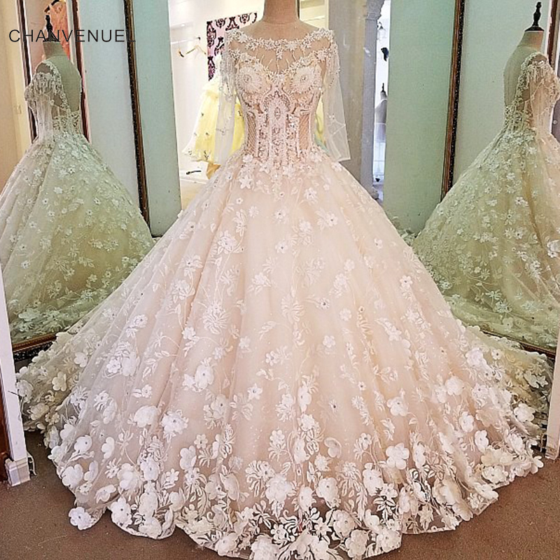 58d34e002098e US $883.98 |LS00097 Luxury bridal gown with sleeves beading 3D flowers ball  gown lace wedding dress vestidos de noivas real photos 2018-in Wedding ...