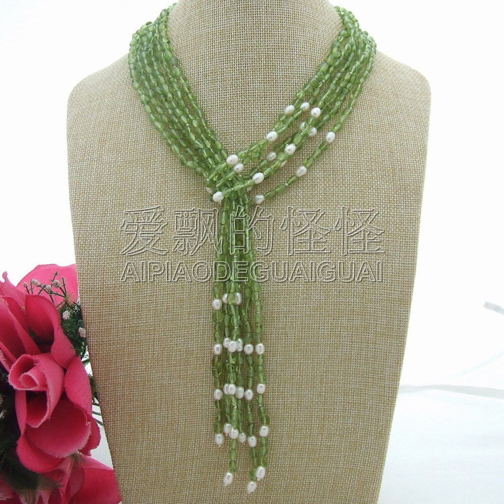 N052507 collier péridot 50 ''Long naturel 3 brins blanc perle vert
