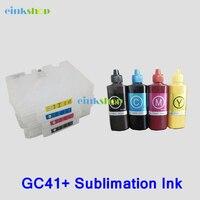מחסנית דיו refillable GC41 לricoh SG3100 SG3100SNW SG3110DNW SG3110DN SG3110SFNW SG2100N + 400 ml ג 'ל דיו סובלימציה gc 41