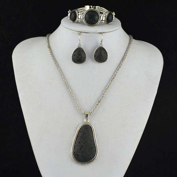 S129 Black Lava Rock Volcano Stone Necklace Pendant & Earring & Bracelet Jewlery Set ,Women Gift,Vintage Look,Tibet Alloy