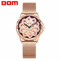 DOM 2019 Women Bracelet Watches Stylish Fashion Diamond Female Quartz Wristwatch Luxury Brand Waterproof Gold Steel Watch Women