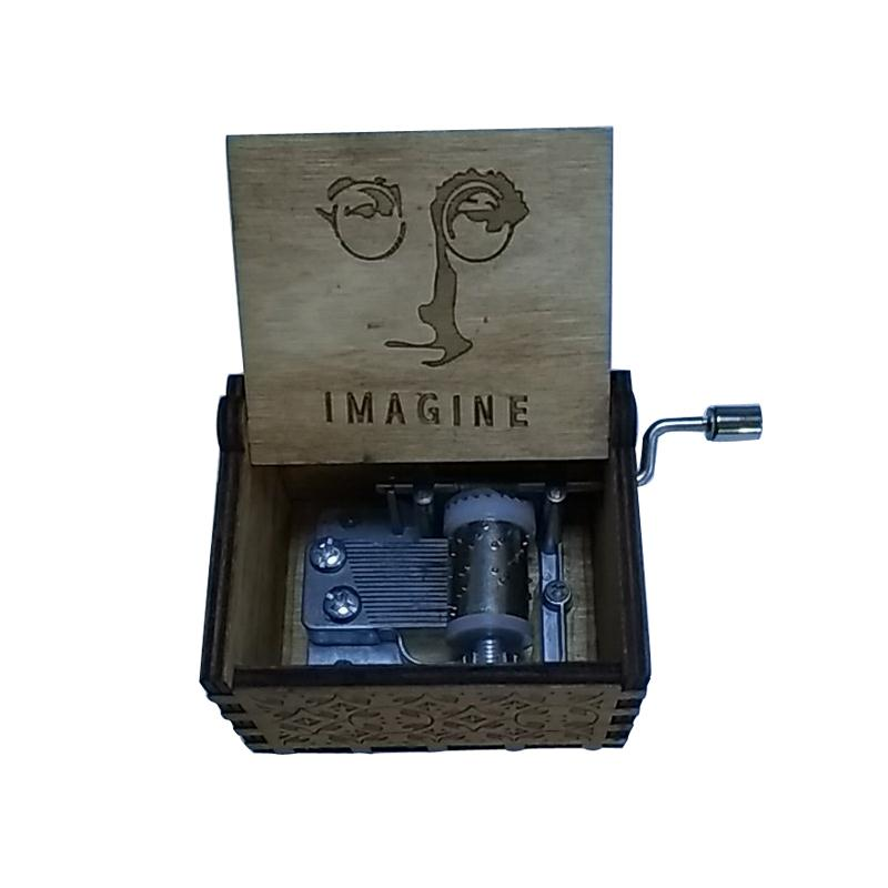 John Lennon Hand operated Type Music Box Imagine Dragon Antique Carved wooden Musical Boxes Caja de musica Kids birthday gifts