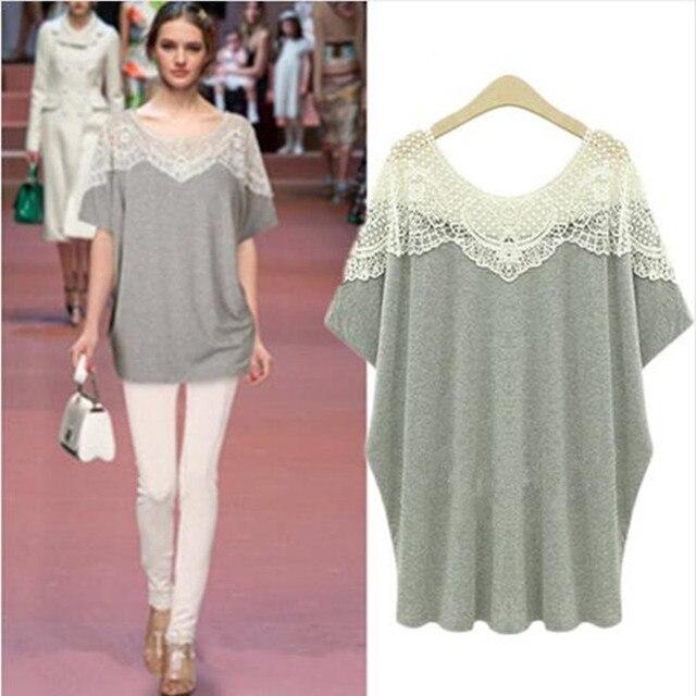 Women Summer Hollow Out Lace Crochet Collar Blouse Shirt Casual Loose Short Sleeve Tops Plus Size XL-5XL Women's Blusas