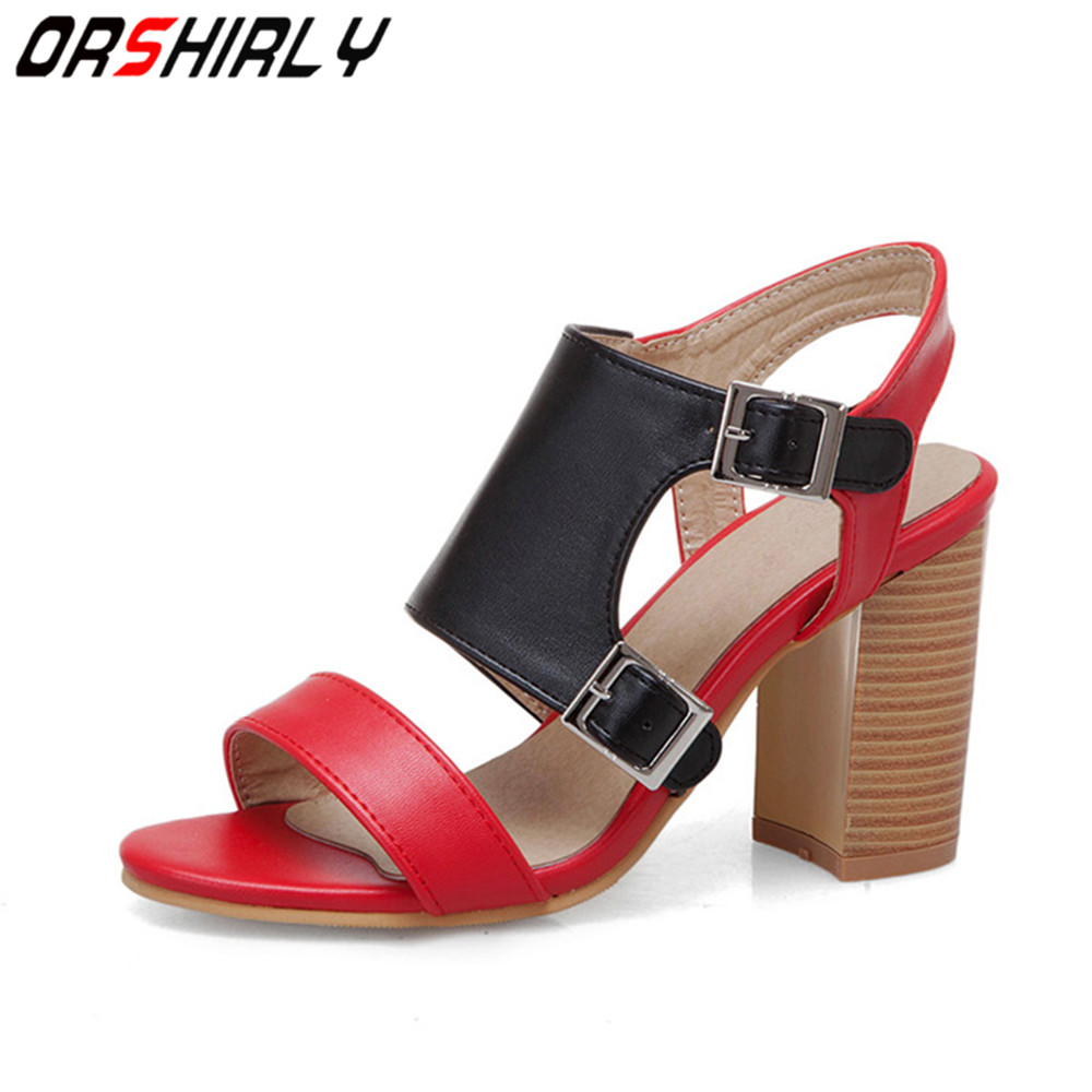 Orshirly Sandals Fashion Buckle-Strap Women Shoes Square High-Heel Ladies Gladiator PU