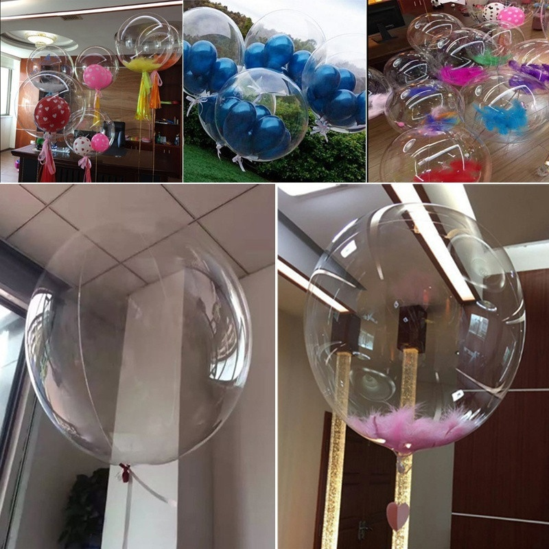 5pcs Clear BOBO Balloons No Wrinkles Jumbo Latex Transparent Baloon DIY Wedding Birthday Party Decoration Bubble Balloon <font><b>18</b></font> Inch image