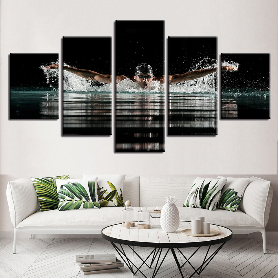 Home Decor Modern Canvas Painting Wall Art Picture 5 Pieces Butterfly Stroke Swimming Sports Poster Living Room Frames HD Print