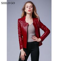 SHILO GO Leather Jacket Autumn Fashion sheepskin genuine leather Jacket shell Collar zipper green wine red black leather coat