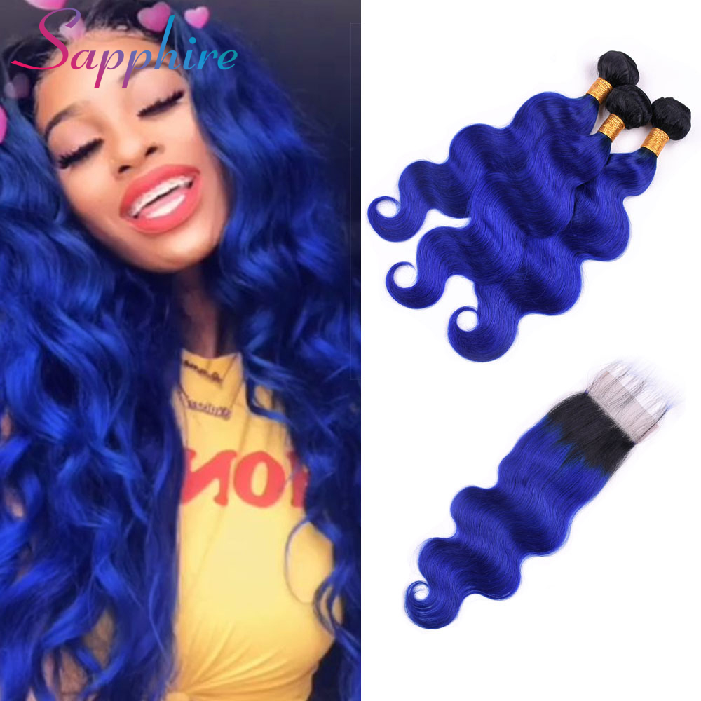 Sapphire Hair Ombre Brazilian Hair Body Wave 3 Bundles Ombre Human Hair With Lace Closure 1B/Blue Brazilian Hair Weave Bundles