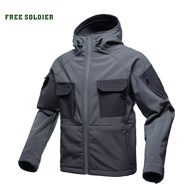 FREE SOLDIER tactical waterproof soft shell hiking jacket hairy male military fans warm autumn and winter coat