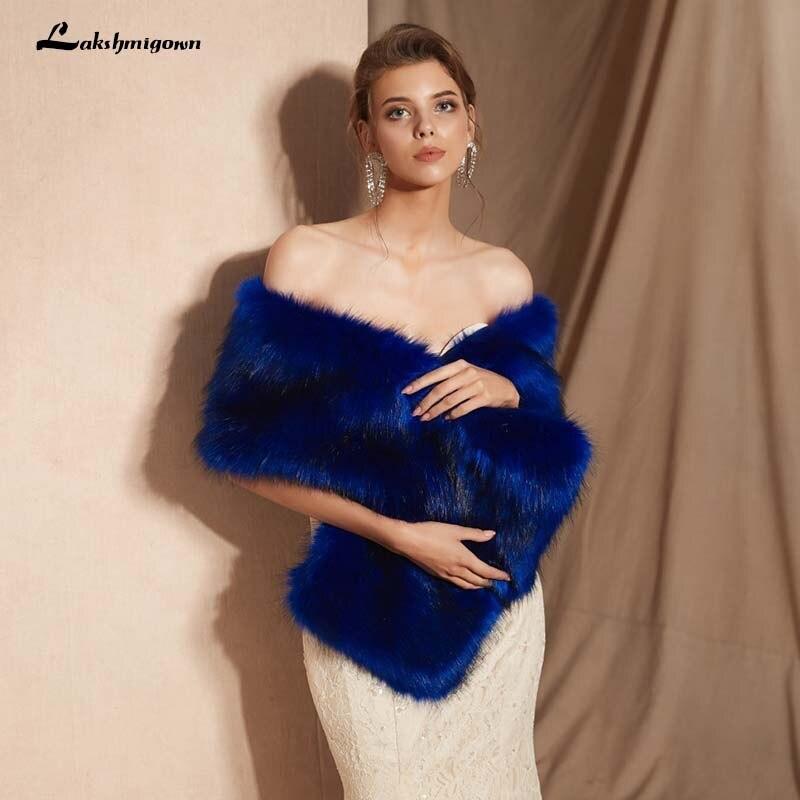 Royal Blue Bride Shawl Faux Fur Hair Shawl Women Wedding Accessories Sleeveless Bridal Cape Wedding Jacket