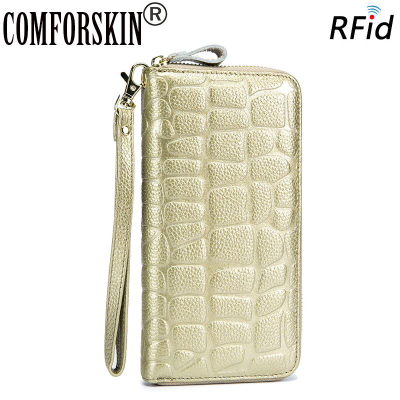 COMFORSKIN Billetera Mujer RFID Protection Cowhide Leather 100% Guaranteed Women Leather Wallet Hot Brand Stone Style Purse 2018