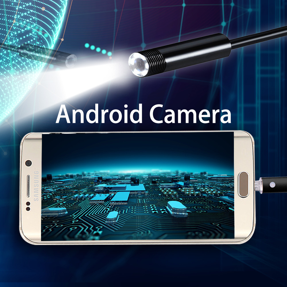 SANNCE 2/5/10M 6LED 7MM 2IN1 Android Endoscope Micro USB Endoscope Waterproof Inspection Camera Video Cam for Andriod Phone PC 7mm lens mini usb android endoscope camera waterproof snake tube 2m inspection micro usb borescope android phone endoskop camera