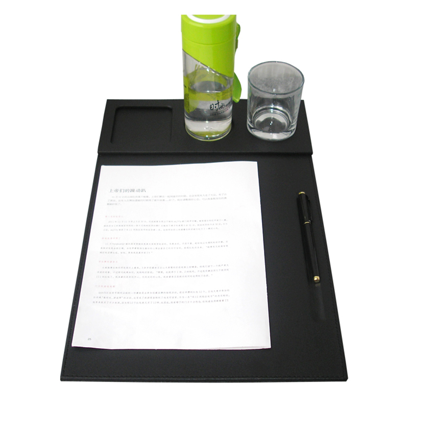 Deluxe PU Leather Office Desk File Clipper Drawing & Writing Board Tablet with Pen & Mug Fixation Set For Conference Black 1239