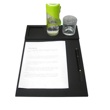 Wholesale Deluxe PU Leather Office Desk File Clipper Drawing & Writing Board Tablet with Pen & Mug Fixation Set For Conference Black 1239